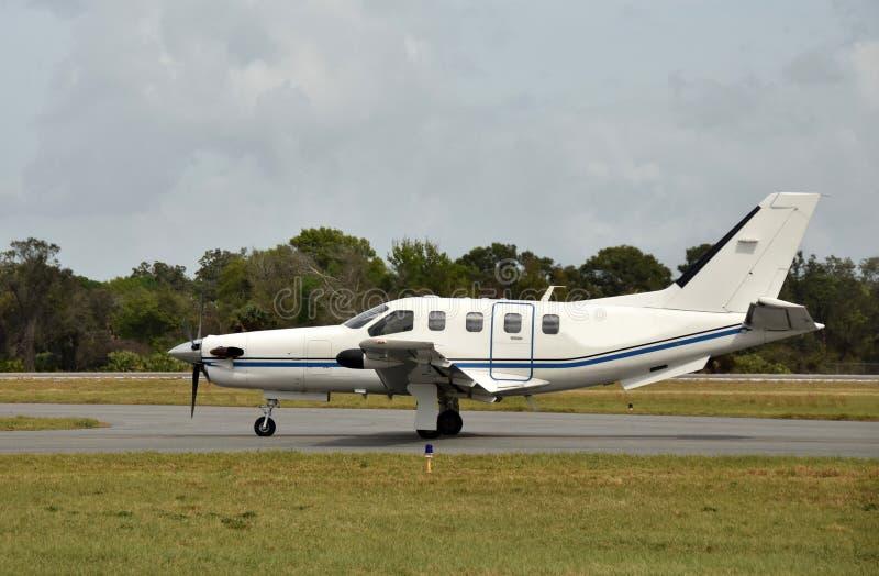 Modern turboprop airplane stock images