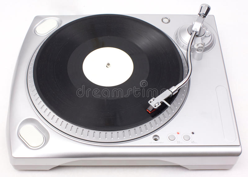 Modern Turntable. Turntable isolated over a white background stock photography