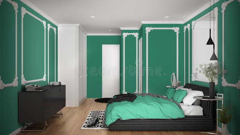Modern turquoise colored bedroom in classic room with wall moldings, parquet, double bed with duvet and pillows, minimalist. Bedside tables, mirror and decors stock illustration