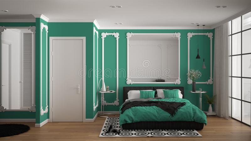 Modern turquoise colored bedroom in classic room with wall moldings, parquet, double bed with duvet and pillows, minimalist. Bedside tables, mirror and decors vector illustration