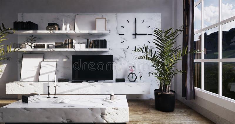 Mock up modern Tv on granite cabinet shelf in zen room interior background 3d rendering. Modern Tv on granite cabinet shelf in zen room interior background 3d royalty free illustration