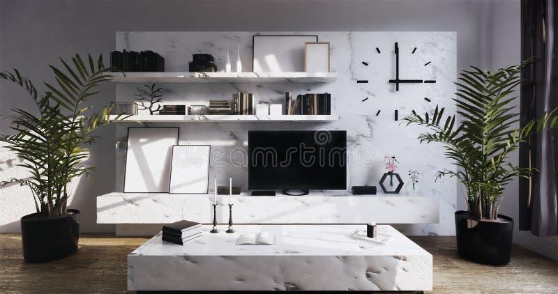 Mock up modern Tv on granite cabinet shelf in zen room interior background 3d rendering. Modern Tv on granite cabinet shelf in zen room interior background 3d vector illustration