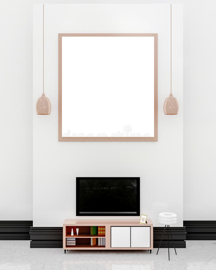 Modern TV room Design. Modern TV room interior, Our room area has a TV with 2 lightshade and a whiteboard on a white table wall and then has a bookcase with a vector illustration
