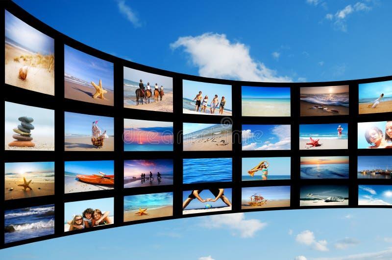 Modern TV screens panel stock image