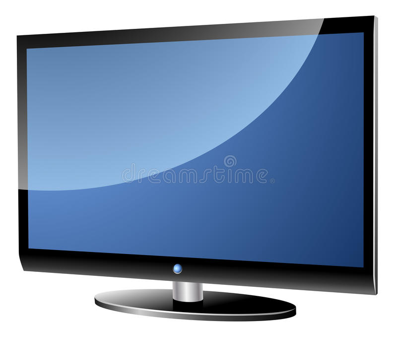 Modern TV set. Wide screen modern TV set isolated on white stock illustration