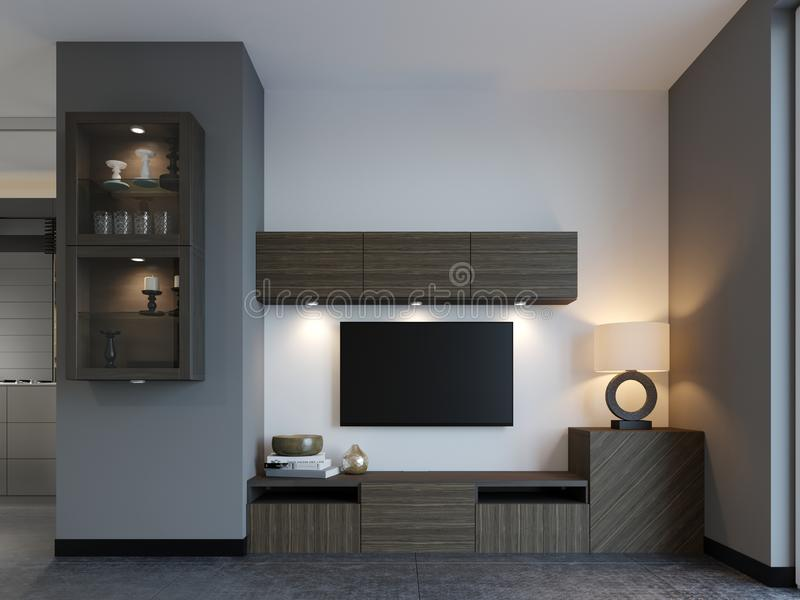 Modern TV stand with TV in loft apartment. 3D Rendering stock illustration