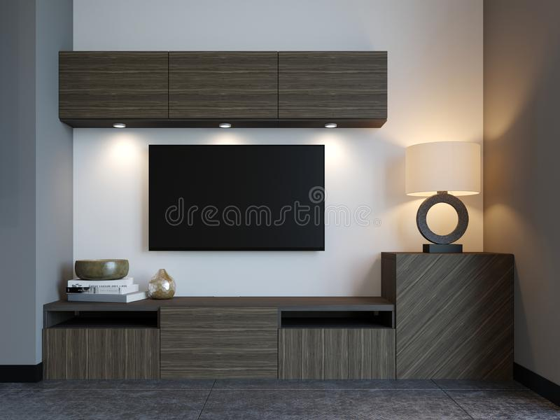 Modern TV stand with TV in loft apartment. 3D Rendering vector illustration