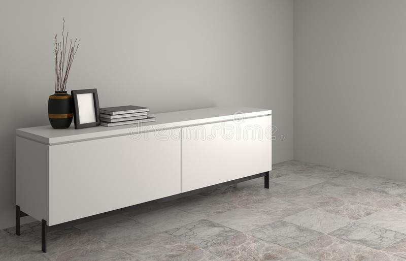 Modern Tv white wood cabinet, in empty room interior background 3d rendering home designs,background shelves and books on the des. K in front of wall empty wall royalty free illustration