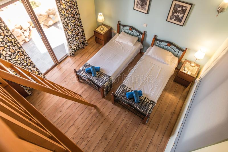 Modern twin bedroom stock photography