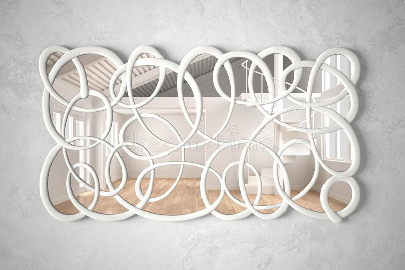 Modern twisted shape mirror hanging on the wall reflecting interior design scene, bright white and wooden empty room, minimalist royalty free stock image