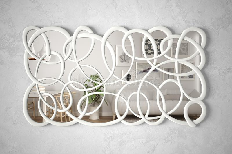 Modern twisted shape mirror hanging on the wall reflecting interior design scene, bright white and wooden living room, minimalist. White architecture, architect royalty free stock image
