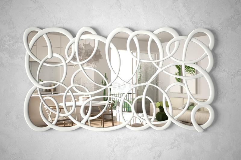 Modern twisted shape mirror hanging on the wall reflecting interior design scene, bright white and wooden living room, minimalist. White architecture, architect royalty free illustration