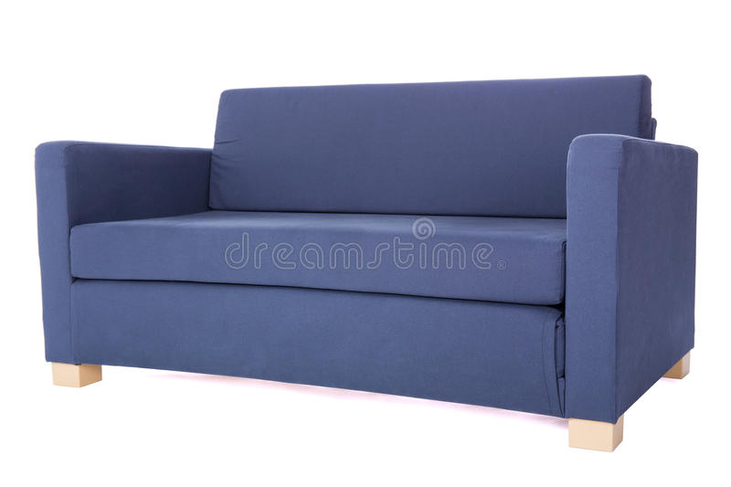 Modern two-seat grey sofa isolated on white royalty free stock image