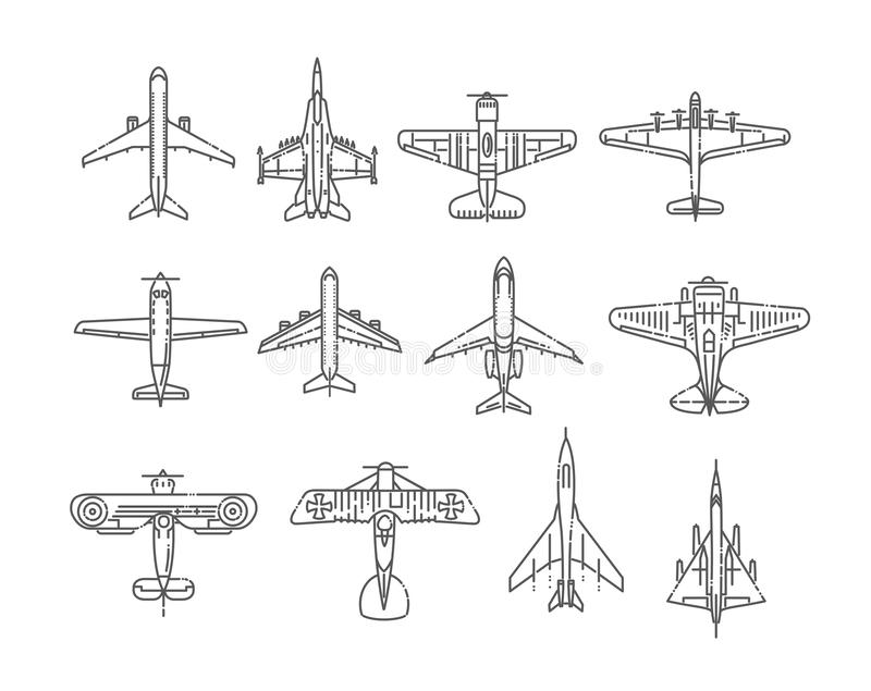 Modern types of planes. Large and small passenger aircraft. Air transport. Vector illustration in flat style royalty free illustration