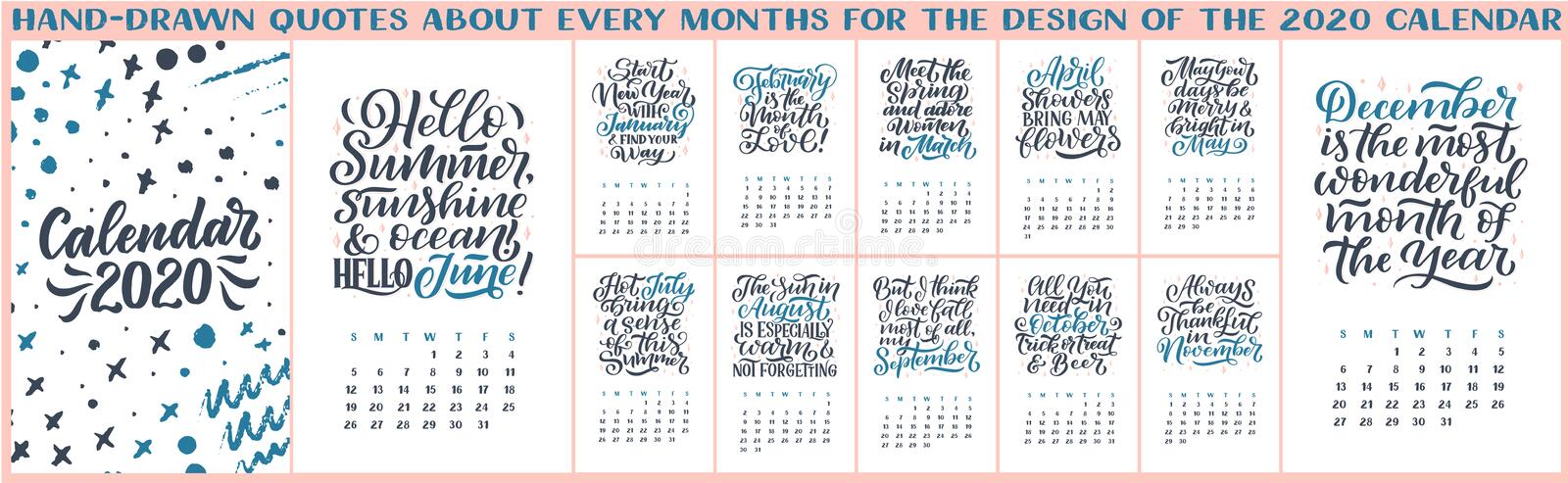 Modern typography lettering compositions. 2020 calendar with funny motivation quotes. Hand drawn illustrations. Trendy slogan, royalty free illustration