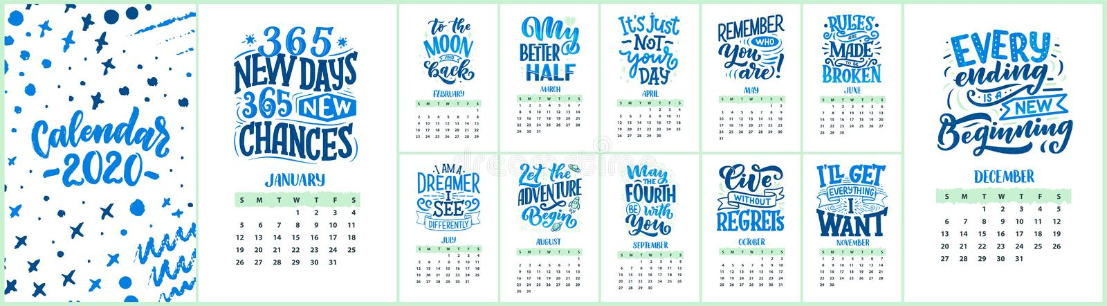 Modern typography lettering compositions. 2020 calendar with funny motivation quotes. Hand drawn illustrations. Trendy royalty free stock images