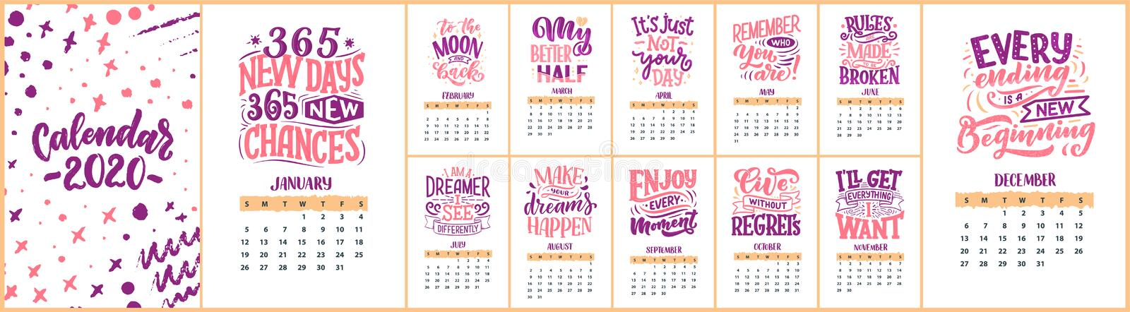 Modern typography lettering compositions. 2020 calendar with funny motivation quotes. Hand drawn illustrations. Trendy slogan,. Modern typography lettering stock photography