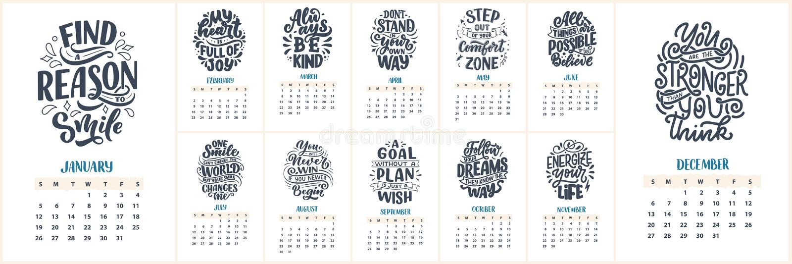 Modern typography lettering compositions. 2020 calendar with funny motivation quotes. Hand drawn illustrations. Trendy slogan, royalty free stock photo