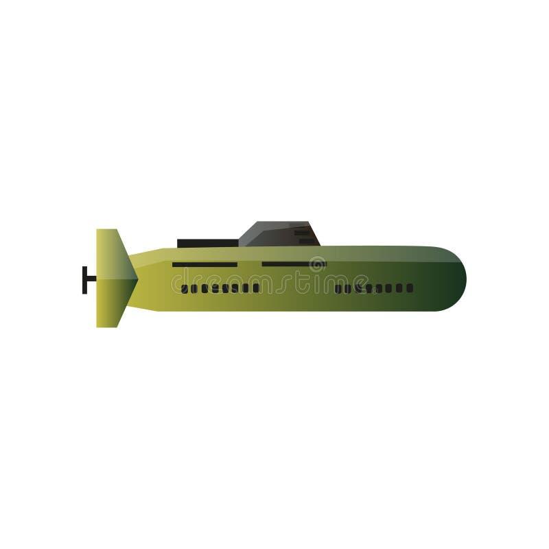Modern ubåt för militärt krig, grön färg för camo royaltyfri illustrationer