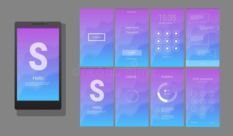 Modern UI, design för GUI-skärmvektor stock illustrationer