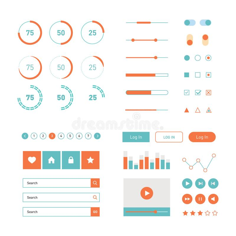 Modern UI flat design vector kit in trendy color with simple mobile phone, buttons, forms, windows and other interface stock illustration