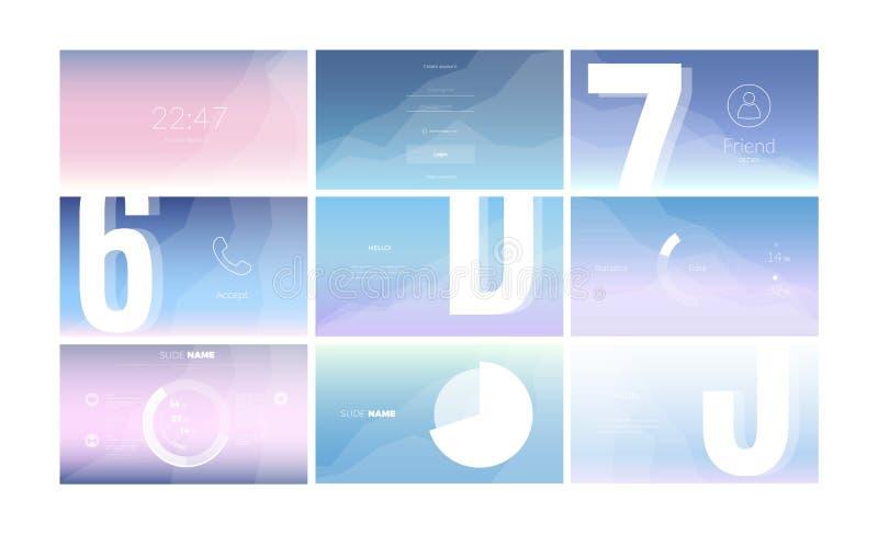 Modern UI-het schermontwerp voor mobiele toepassing met Webelementen vector illustratie