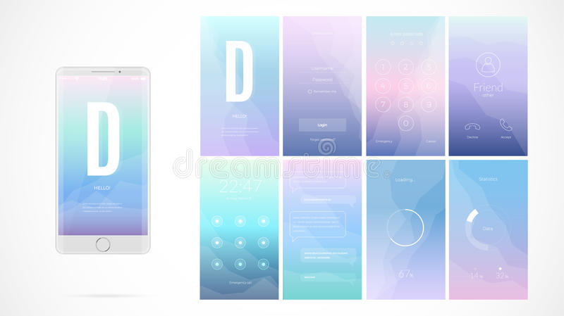Modern UI screen design for mobile app with web icons. royalty free illustration
