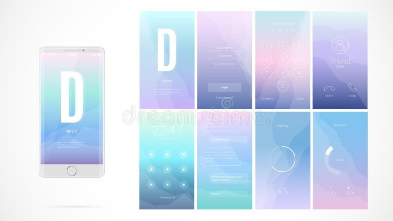Modern UI-skärmdesign för mobilen app med rengöringsduksymboler royaltyfri illustrationer