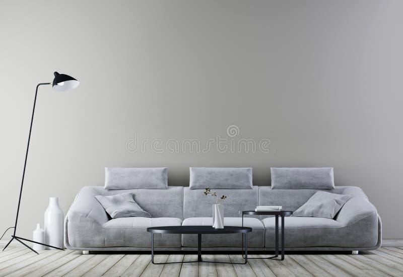 Modern uitstekend binnenland, woonkamer met lege muur voor model, witte leerbank stock illustratie
