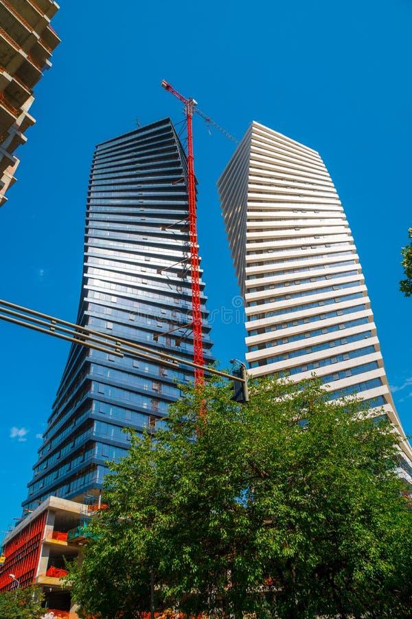 Modern, unique twin skyscrapers in Tbilisi, the capital of Georgia. Architecture stock image