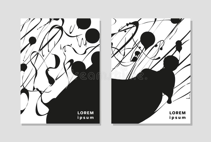 Modern universal abstract black and white background with place for text. Minimalistic poster with dots, spots, lines vector illustration