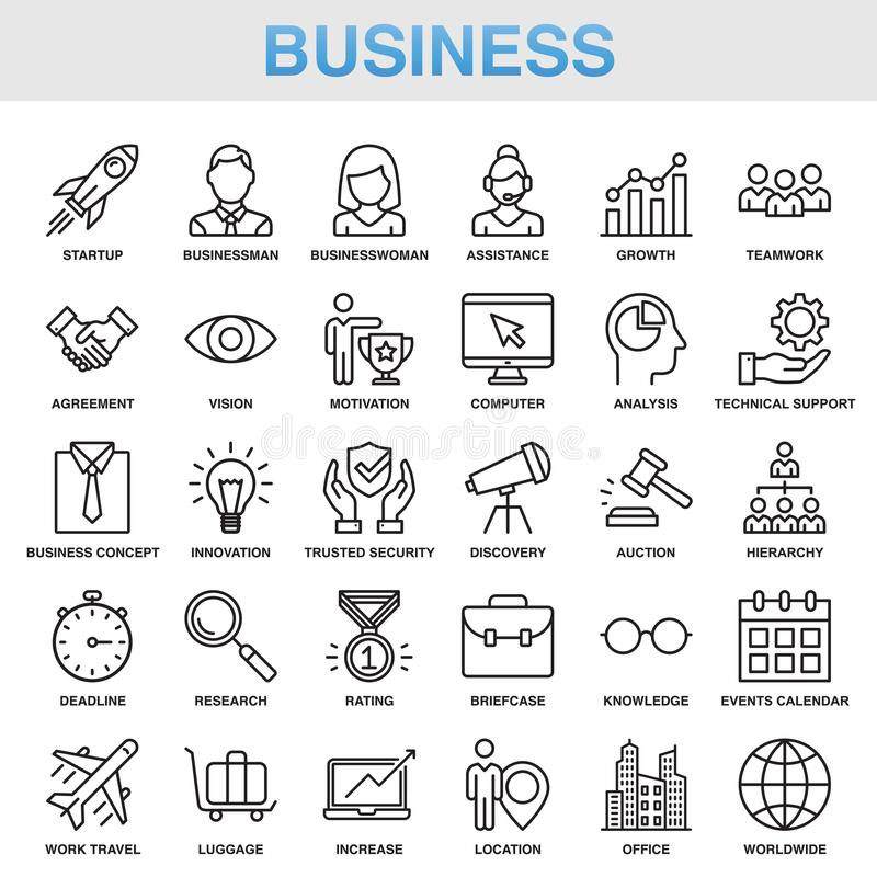 Modern Universal Business Icons Set. Working stock illustration