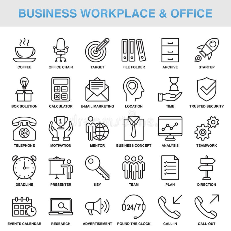 Modern Universal Business Office Icons Set. Modern Universal Business Workplace Office Icons Set Working stock illustration
