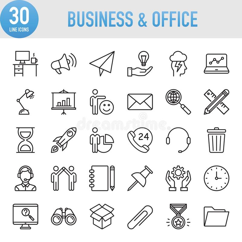 Modern Universal Business & Office Line Icon Set royalty free illustration