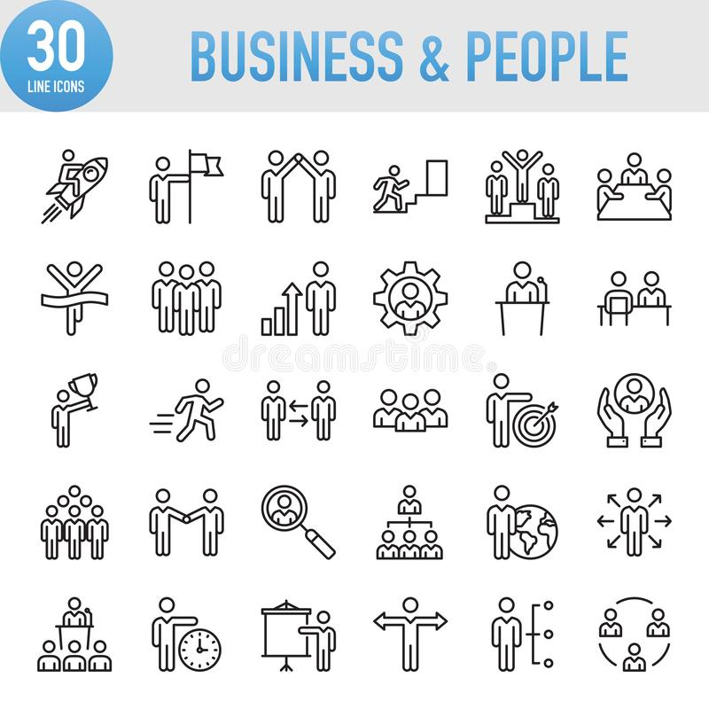 Modern Universal Business People Icons Set. Working stock illustration