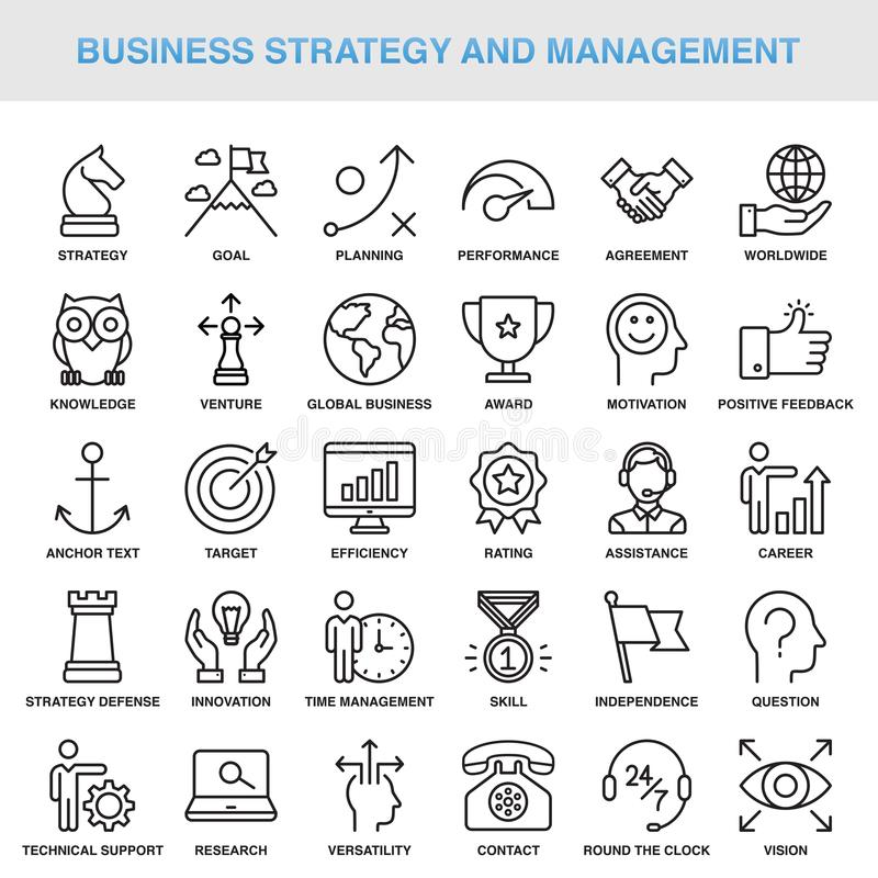 Modern Universal Business Strategy and Management Icons Set. Working stock illustration