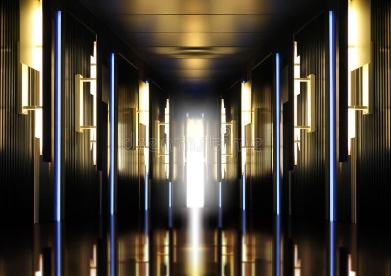 Modern upplyst perspektivkorridor fotografering för bildbyråer