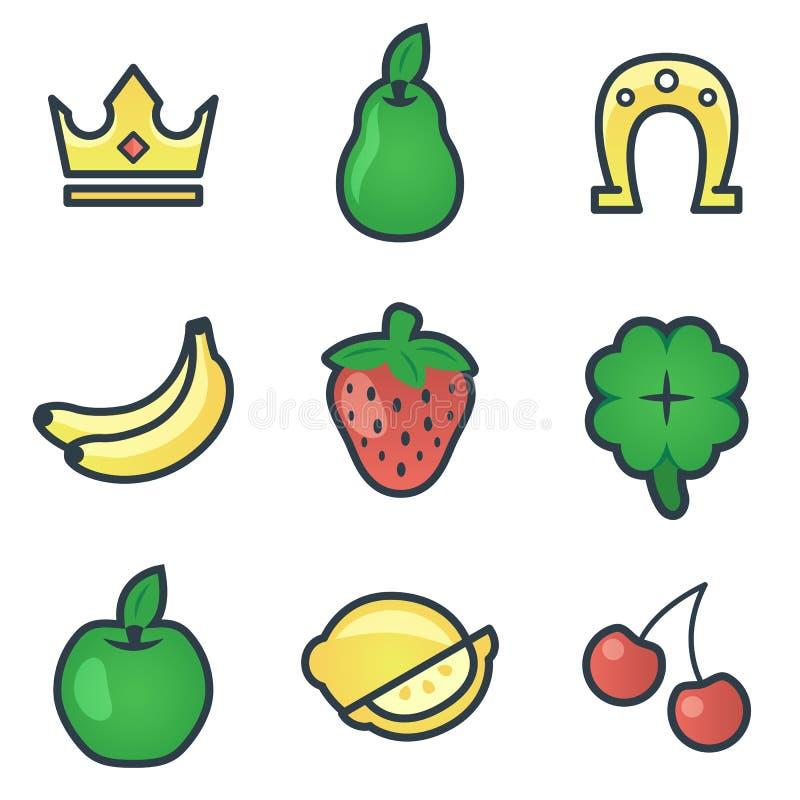 Modern uppsättning av färgrika dobbleri- och kasinosymboler för website- eller mobilapplikation Ljusa och stilfulla beståndsdelar vektor illustrationer