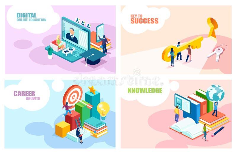 Modern uppsättning av vektorn för webbsidadesignmallen för online-utbildning och utbildningskurser stock illustrationer