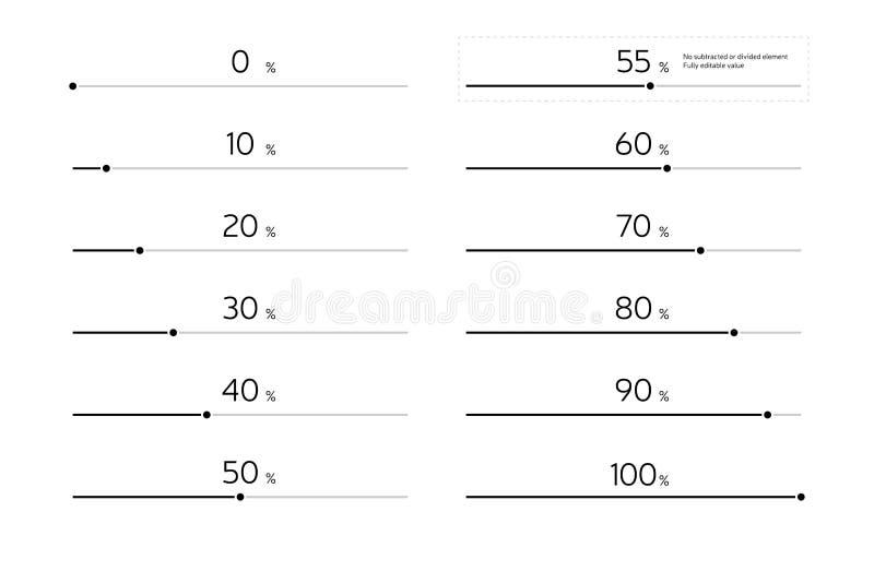 Modern uppsättning för Infographic päfyllningsstång - svart vektor illustrationer