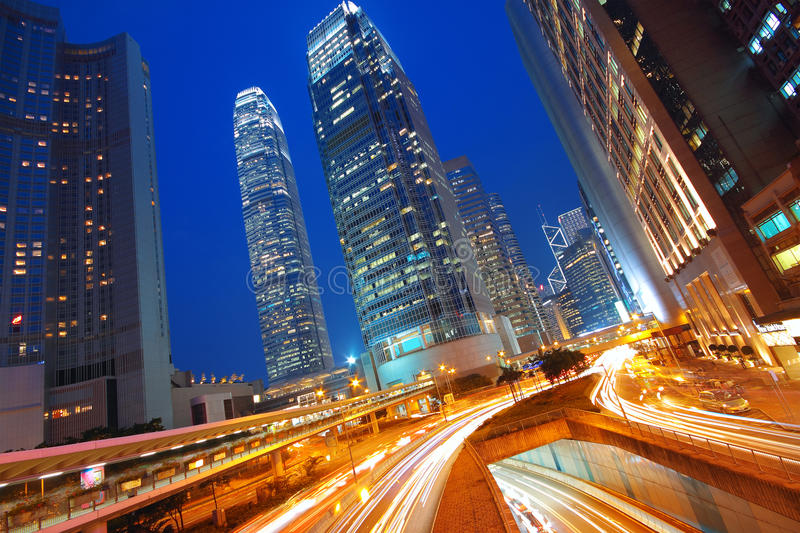 Modern Urban City with Freeway Traffic stock photography