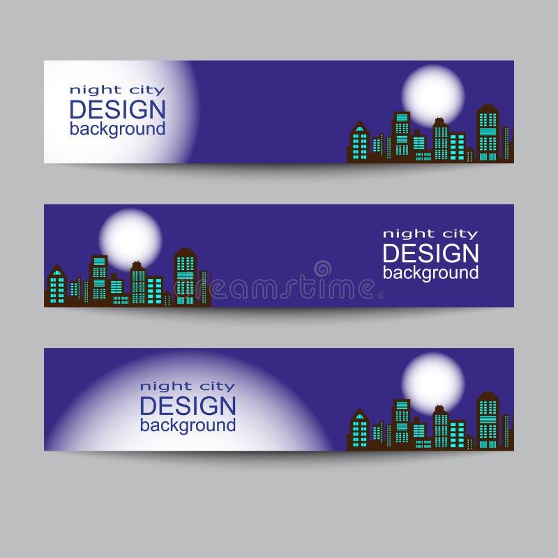 Modern urban city skyline at full moon night on dark background horizontal banners. Isolated vector illustration stock illustration