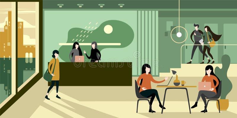 Modern urban eco green office reception interior vector illustration