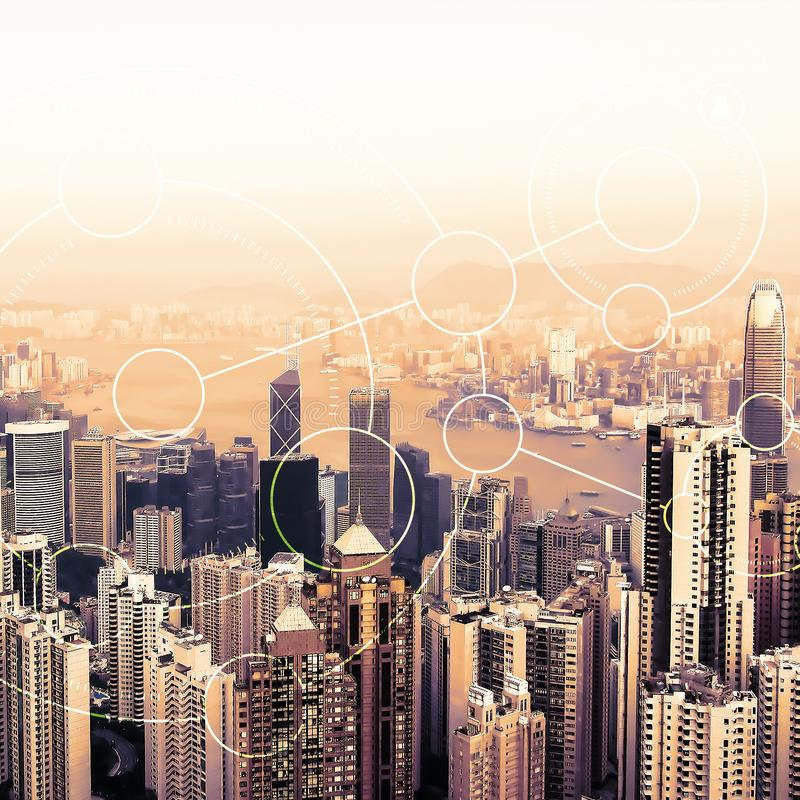 Modern urban skyline. Global communications and networking. Blockchain concept. High-speed data and internet connection stock images