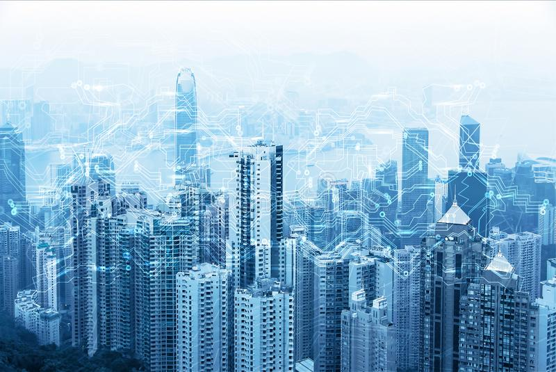 Modern urban skyline. Global communications and networking. Cyberspace in big city. High-speed data and internet connection royalty free stock image