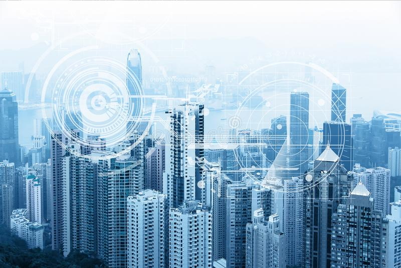 Modern urban skyline. Global communications and networking. Cyberspace in big city. Stock market.E-business and e-banking.  royalty free stock images