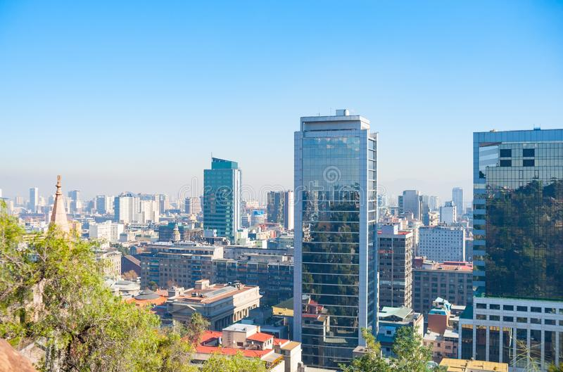 Modern urban skyline of Santiago Chile. From high point of view overlooking downtown commercial centre stock image