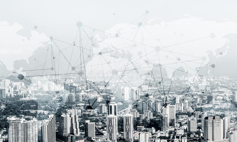 Modern urban technologies. Double exposure of modern cityscape view with digital media interface of networking structure. Wallpaper, backdrop with copyspace royalty free illustration
