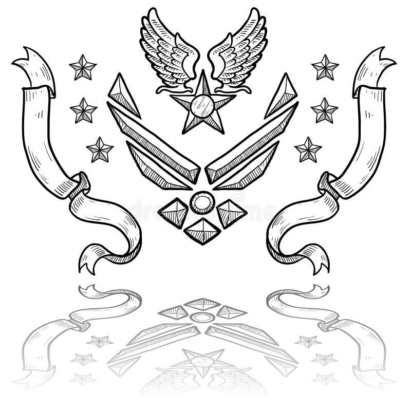 Modern US-flygvapengradbeteckning med band royaltyfri illustrationer