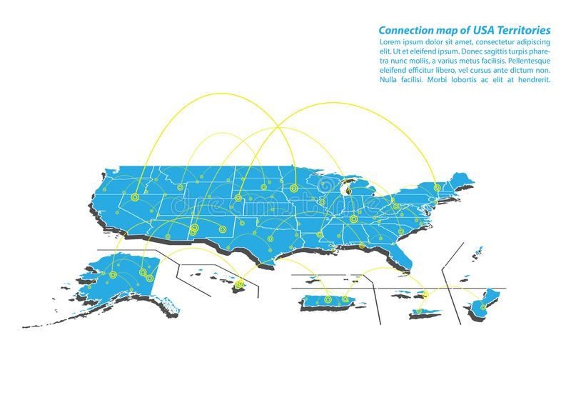 Modern of USA Territories Map connections network design, Best Internet Concept of USA Territories map business from concepts seri. Es, map point and line royalty free illustration
